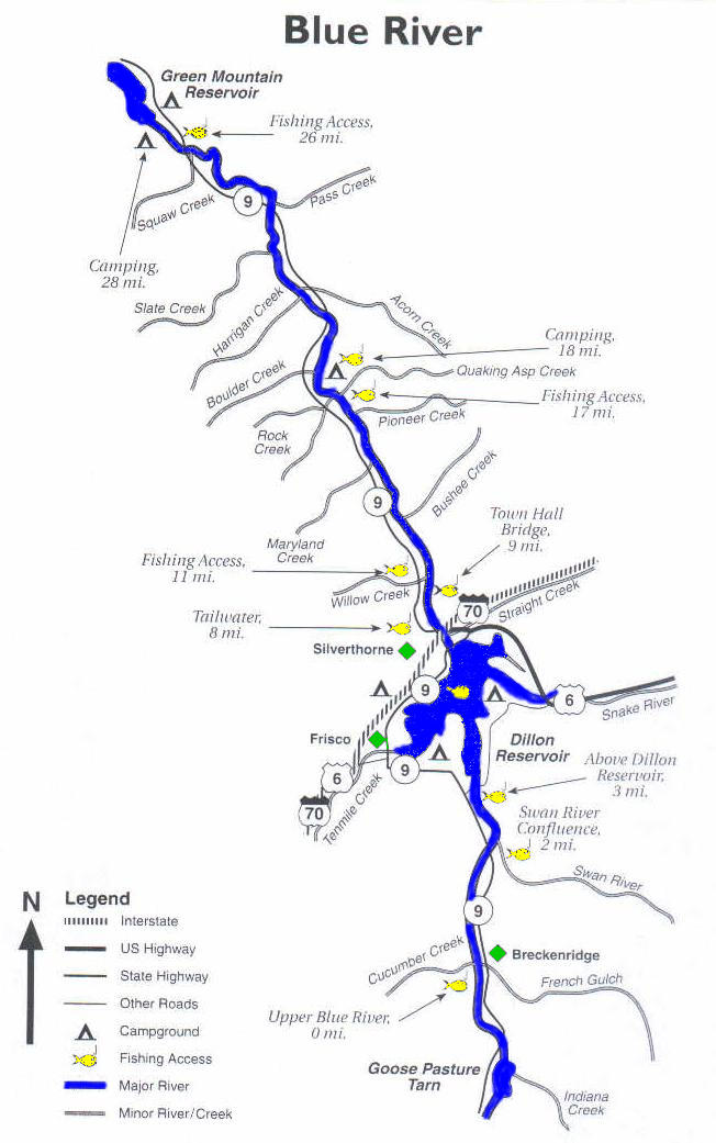 Blue river for Colorado fishing map